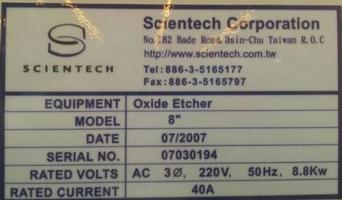 "Scientech, Etch, OXIDE ETCH 8"" 200mm"
